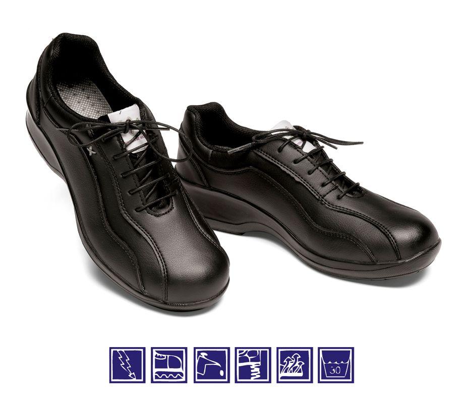 Zapato negro de mujer con cordones para cocina y sanidad for Zapatos de cocina
