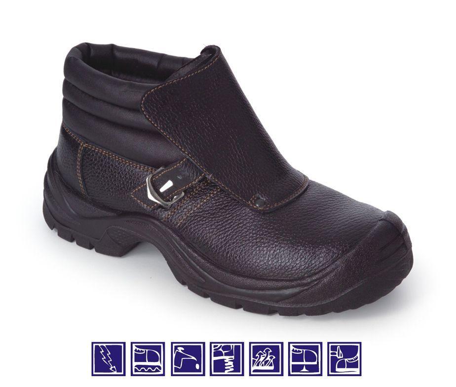 Bota seguridad en piel y hebilla puntera y plantilla for Calzado de seguridad bricomart
