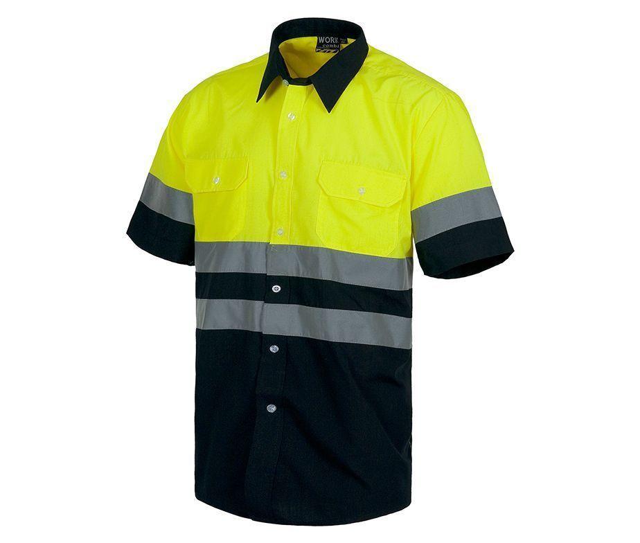 Camisa bicolor de alta visibilidad manga corta. Camisa