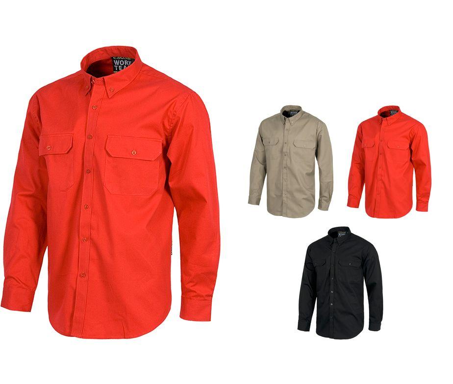 Camisa de trabajo en manga larga con dos bolsillos - Ropa de hosteleria barcelona ...