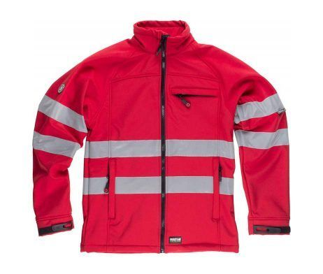 chaqueta impermeable roja reflectante de industria
