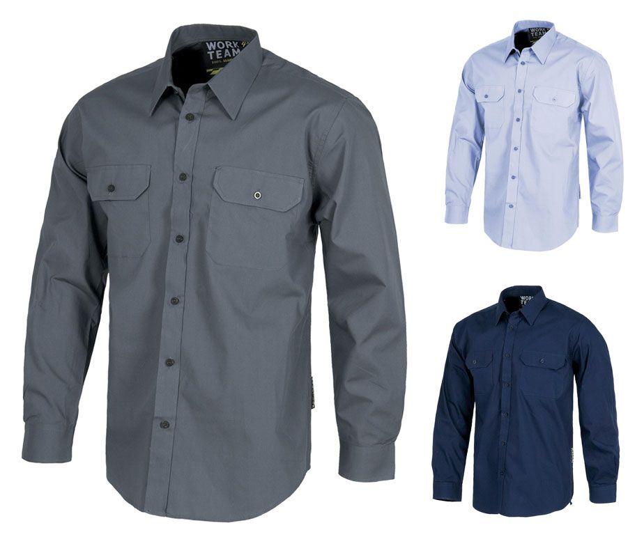 Camisa de trabajo manga larga con dos bolsillos workteam - Ropa de hosteleria barcelona ...