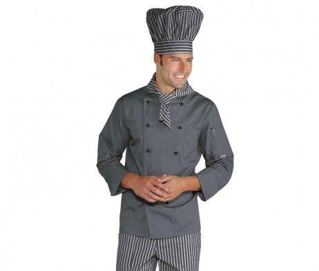 Casaca de cocinero color gris alta calidad hombre