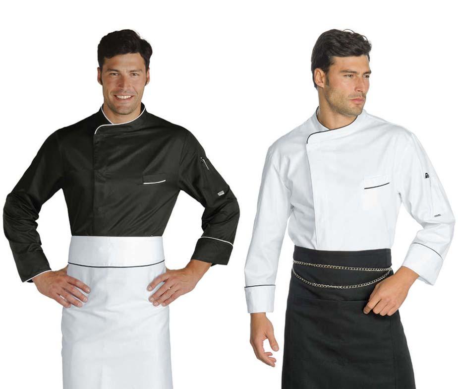 Chaqueta cocinero blanco y negro con ribetes corchetes for Chaquetas de cocina originales