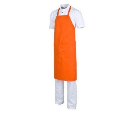 Delantal con peto color naranja