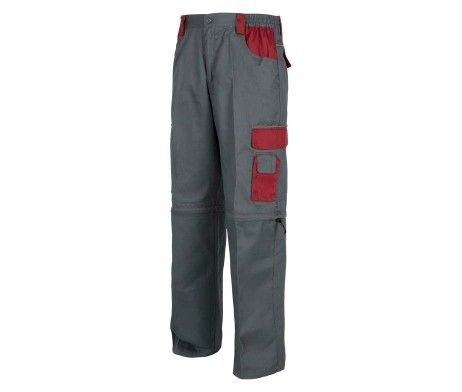 pantalon multibolsillos reflectante gris granate