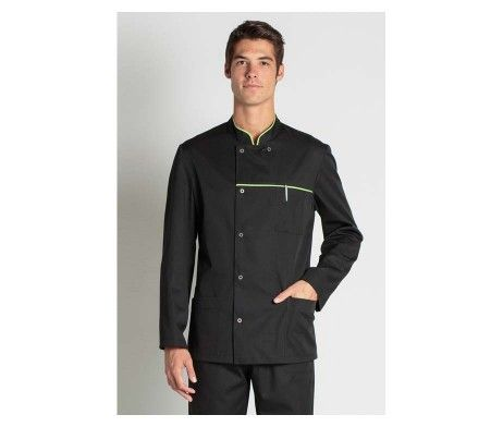 chaqueta hombre manga larga negra cuello mao
