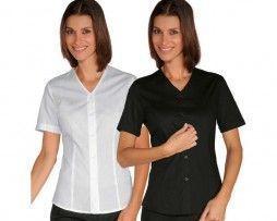 camisa-mujer-entallada-ajustada-recepcionista-hotel-manga-corta-blanca-negra