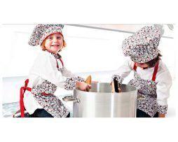 ropa infantil cocinero conjunto de gorro y delantal