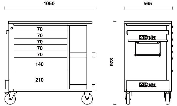atelier beta orange mobile a 7 tiroirs
