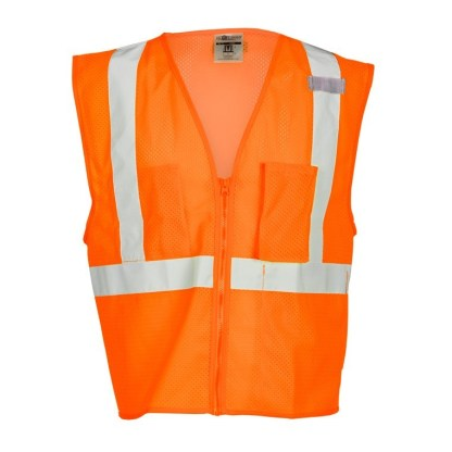 ML Kishigo 1086 3 Pocket Zipper Mesh Orange Vest