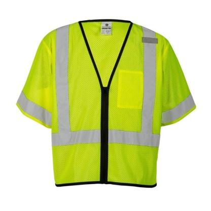 ML Kishigo 1567 Single Pocket Zipper Lime Economy Vest