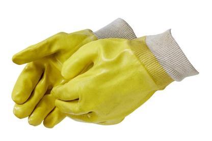 Liberty Gloves 2331 Smooth Finish Yellow PVC Glove with Knit Wrist, Dozen