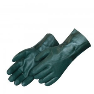 Liberty Gloves 2733 Sandy Finish Green PVC Glove with 12 inch Gauntlet, Dozen