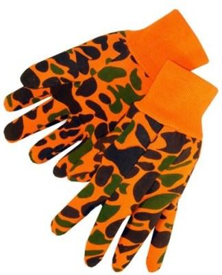 4516 Orange Hunting Camouflage Jersey Glove With Knit Wrist, Dozen