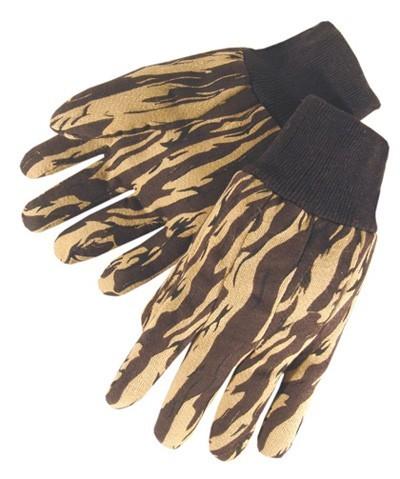 4536 Brown Hunting Camouflage Jersey Glove With Knit Wrist, Dozen