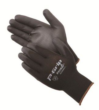 P-Grip 4638BK Ultra-Thin Black Polyurethane Coated Palm Glove, Dozen