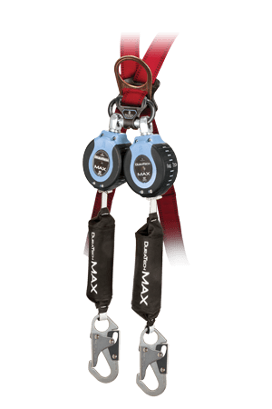 Falltech 82709TB1 DuraTech Max 9' Twin Leg Web Self-Retracting Device, Carabiner Connector with Clip & Steel Snap Hooks