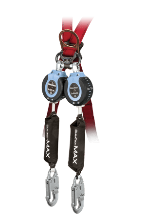 FallTech 82709TB4 DuraTech Max 9ft Twin Leg Web Self-Retracting Device, Carabiner Connector with Clip & Aluminum Snap Hooks