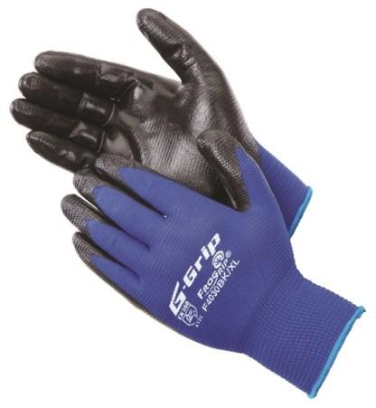 Liberty Gloves F4030BK G-GRIP Embossed Pattern Black Nitrile Foam Palm Coated Glove, Dozen