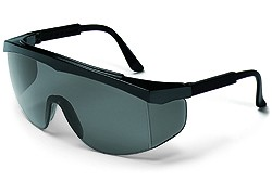SS112 Stratos Safety Glasses Black Frame - Grey Uncoated Lens