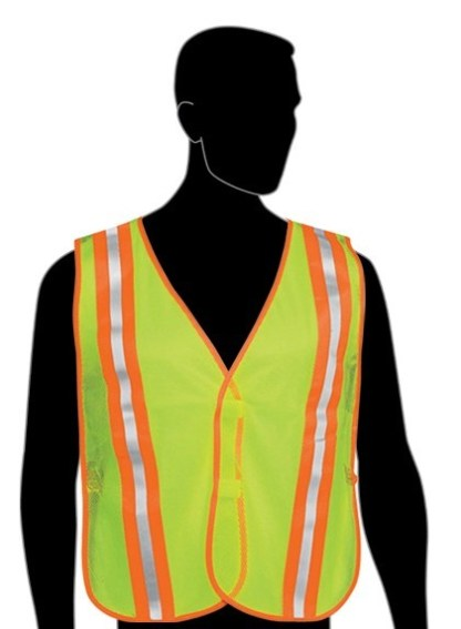 "N16220 Fluorescent Lime Vest - 2"" stripes w/flo green trim on front & back - Velcro closure - Elastic side strips"