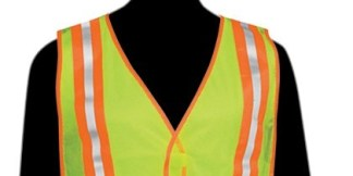 "N16220 Fluorescent Lime Vest - 2"" stripes w/flo green trim on front & back - Velcro closure - Elastic side strips"