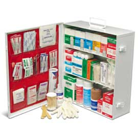 0613B ANSI CLASS B 3 SHELF INDUSTRIAL FIRST AID CABINET  WITH LINER - TYPE I & II - 100 PERSON