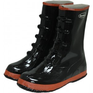 1520 5-Buckle Black Rubber Boots, Pair