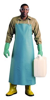"Ansell 33"" X 49"" Green CPP 18 Mil PVC Heavy Duty Apron With Stomach Patch"