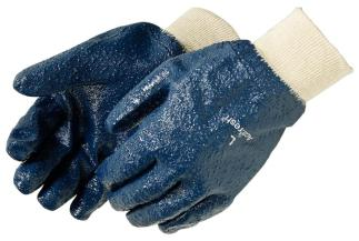 Liberty Gloves 9333 Palm Coated Rough Blue Nitrile Glove with Knit Wrist, Dozen