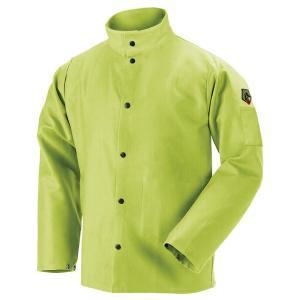 Black Stallion FL9-30C TruGuard  9oz FR Cotton Welding Jacket, Safety Lime