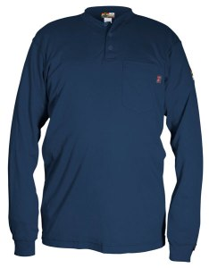 H1N - Flame Resistant (FR) Long Sleeve Navy Blue Henley Shirt, 100% Cotton
