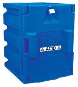 Justrite 24040 Blue Polyethylene Storage Cabinet for Corrosives - Countertop cabinet w/ 1 door