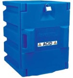 Justrite 24040 Blue Polyethylene Storage Cabinet for Corrosives - Countertop cabinet w/ 1 door