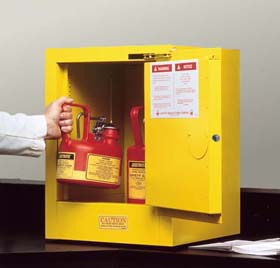 Sure-Grip EX Countertop and Compac Safety Cabinets for Flammables - 12-Gal. compac cabinet w/ self-close door