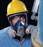 MSA Advantage 3200 Twin Port respirator w/ rubber harness
