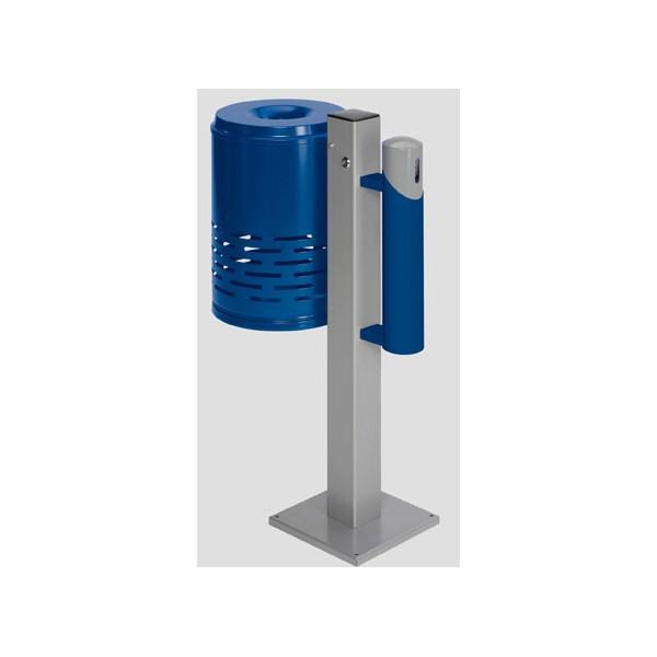 ensemble poubelle 47l cendrier 1 4l bleu et gris sur pied camomille
