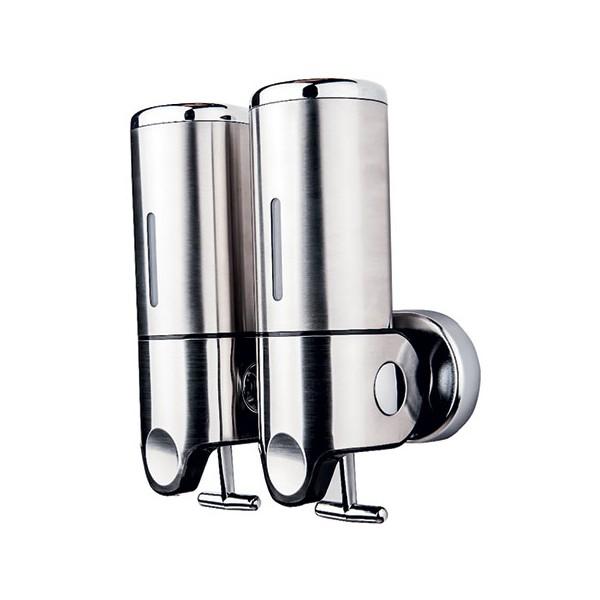 distributeur de savon design inox brillant 2 x 500 ml