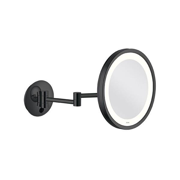 Miroir Grossissant Lumineux Mural Led Nexxus O25 Cm Double Bras Noir Mat P40 Cm