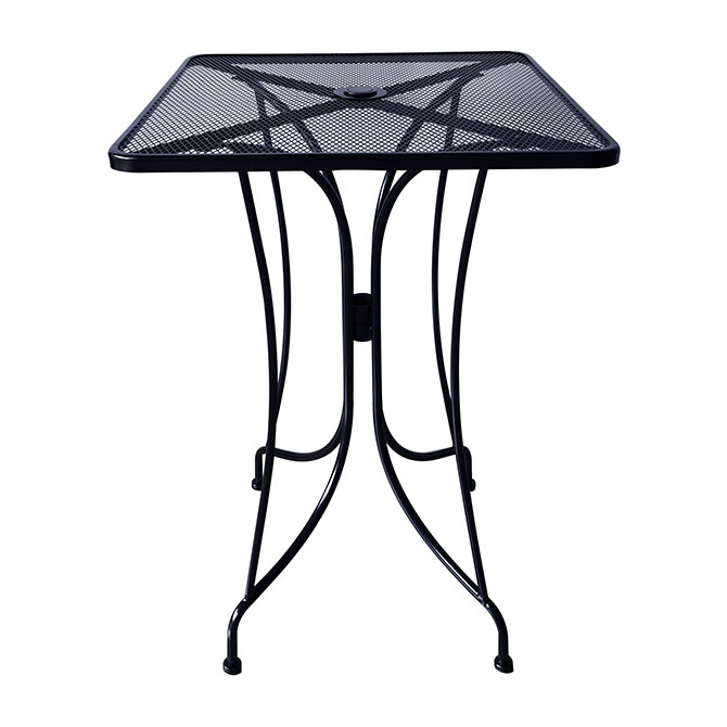 modesto 30 square mesh wrought iron bar height patio table with umbrella hole