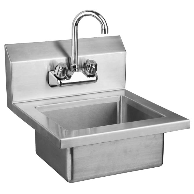 sauber stainless steel wall mount hand sink with faucet 17 wide