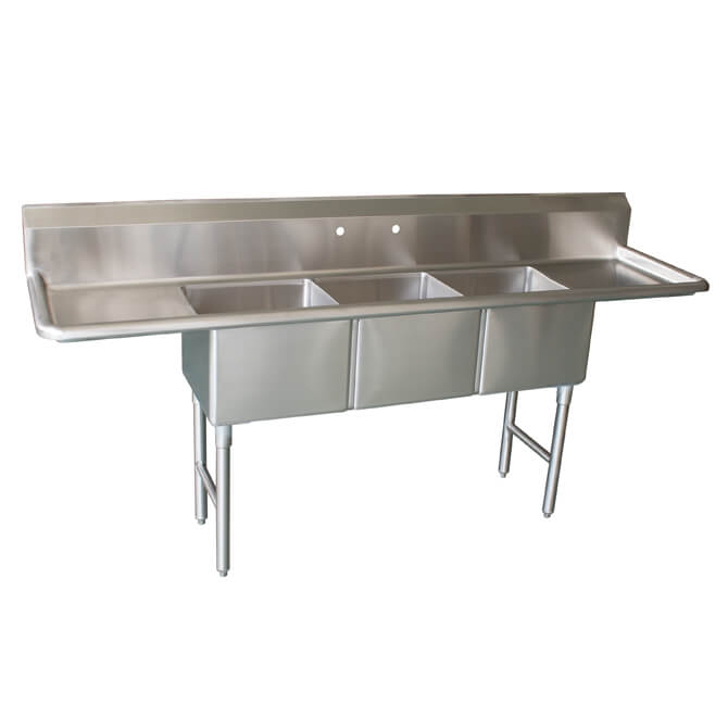 sauber select 3 compartment stainless steel sink with two 18 drainboards 90 w