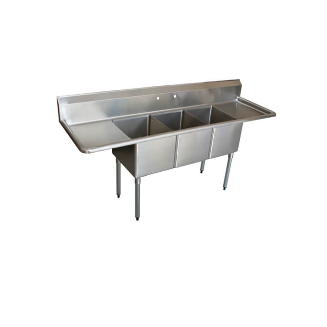 sauber 3 compartment stainless steel sink with two 18 drain boards 84 w