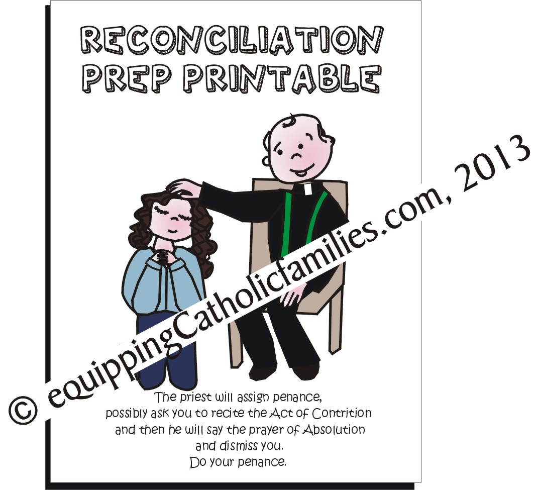 First Reconciliation Prep Peek Sheets Printable