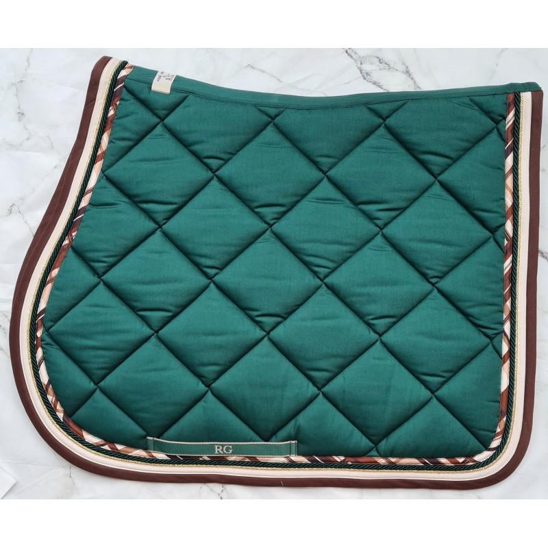 tapis de selle rg italy vert sapin bord chocolat