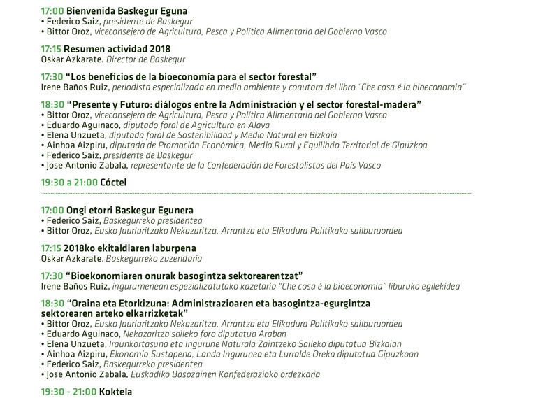 Programa del Baskegur Eguna 2019