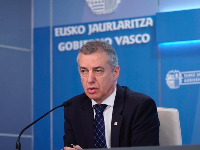 El lehendakari Iñigo Urkullu en comparecencia posterior al Consejo de Gobierno