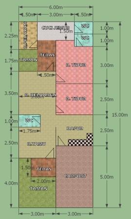 Desain Rumah Lebar 6 Meter Panjang 15 Meter : desain, rumah, lebar, meter, panjang, Rumah, Komplit, Lahan, Eramuslim