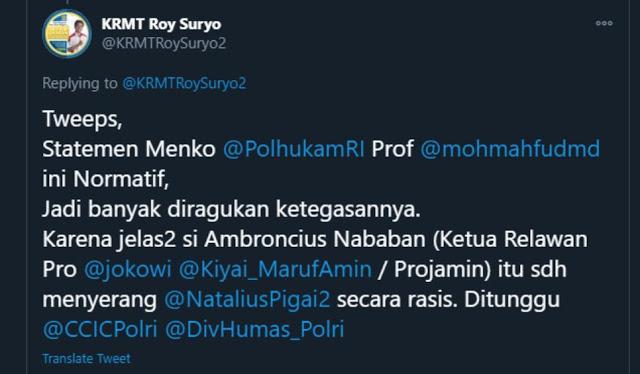 Mahfud Tidak Tegas soal Rasisme ke Natalius Pigai, Roy Suryo Singgung Ambroncius Relawan Jokowi